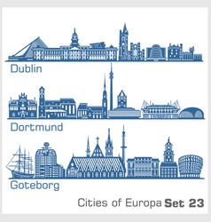 City in europe - dublin dortmund goteborg vector