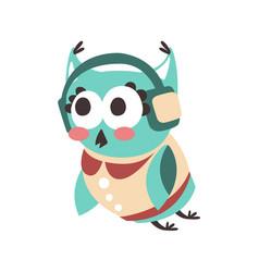 Cute cartoon owl bird listening music in vector