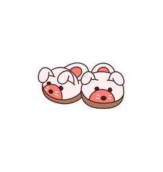 Cute cozy animal slippers icon isolated on white vector