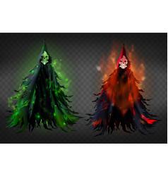 death skeleton reaper in black hood vector image