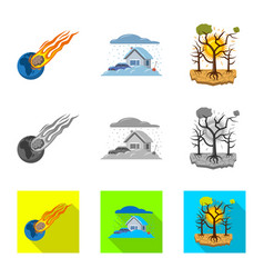 Design of natural and disaster icon set of vector