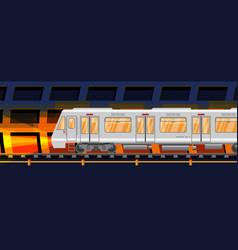 Detailed underground train car in tunnel vector