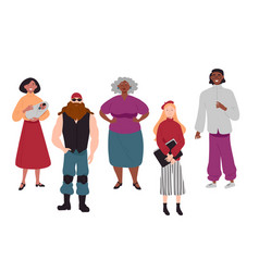 Diverse group young people together portrait vector