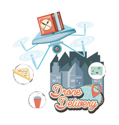 Drone delivery service with box and cityscape icon vector