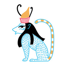 Egyptian deity in the form of a blue lion with a vector