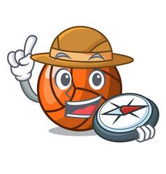 explorer volleyball mascot cartoon style vector image