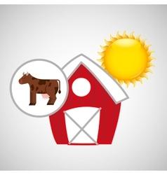farm countryside cow animal design vector image