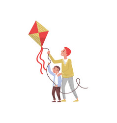 father and son with flying kite outdoor happy vector image