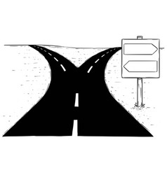 Fork in the road empty arrow sign drawing vector