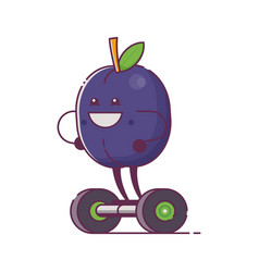 Fruit plum character on gyroscooter vector