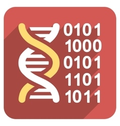 Genome Code Flat Rounded Square Icon with Long vector