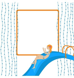 girl on the waterslide vector image