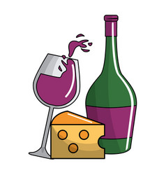glass and bottle wine with cheese tasty vector image