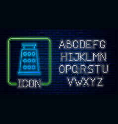Glowing neon grater icon isolated on brick wall vector