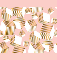 gold and pale rose cubes in dynamic chaos vector image