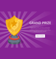 Golden grand prize on purple background vector