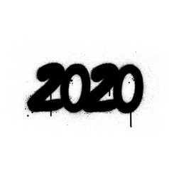 Graffiti 2020 date number sprayed in black over vector