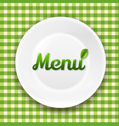 Green checkered cloth and white plate vector