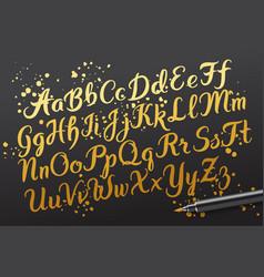 Hand drawn brushpen alphabet letters vector