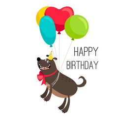 Happy birthday dog card vector