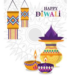 happy diwali festival lanterns diya lamps culture vector image