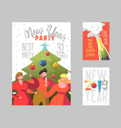 Happy new year 2019 posters set flat people vector