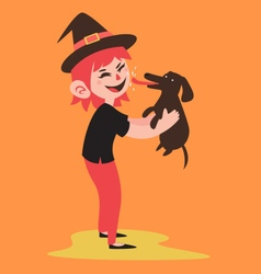 Happy Witch Holding her Pet Dog vector image