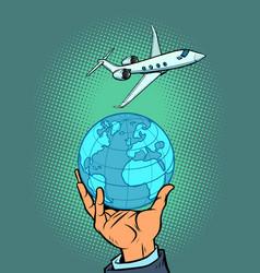 International flight on a passenger liner tourism vector