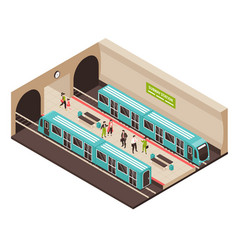 Isometric metro station composition vector