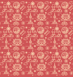 korea signs seamless pattern background on a red vector image
