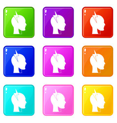 Lightning bolt inside head icons 9 set vector