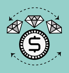 Line diamond icon and bitcoin money currency vector