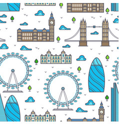 Line london bridges skylines and sights seamless vector
