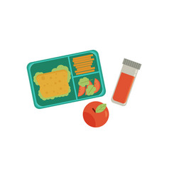 Lunchbox with snacks vegetables and drink vector