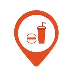 map pointer with fast food icon isolated vector image