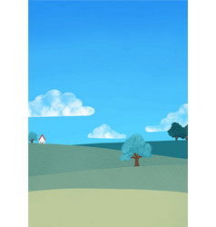 Meadow grass big tree house and sky background vector