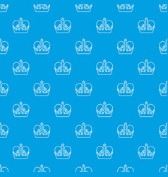 Monarch crown pattern seamless blue vector