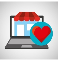 online store shopping heart love graphic vector image