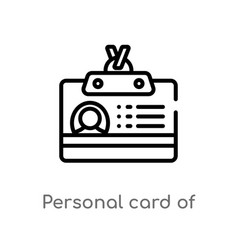Outline personal card contact data icon vector