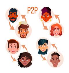 Peer to peer social networking poster vector