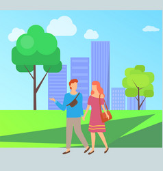 people walking in park dating couple vector image