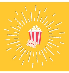 Popcorn ticket shining effect Flat design vector