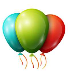 Realistic blue green red balloons with ribbons vector