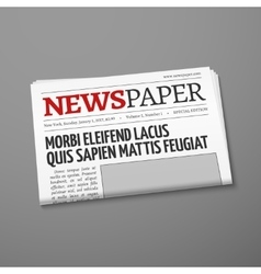 Realistic daily newspaper front page vector