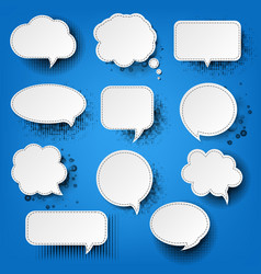 retro speech bubble with blue background vector image