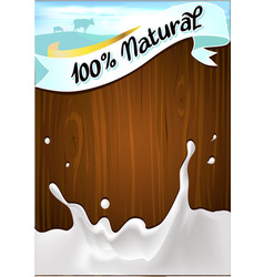 ribbon on wooden background with milk splash vector image