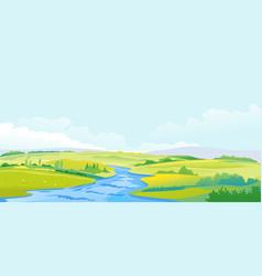 River in green valley summer landscape vector