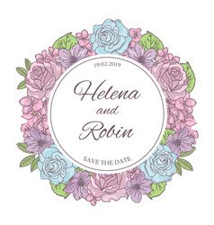 save the date wedding wreath vector image
