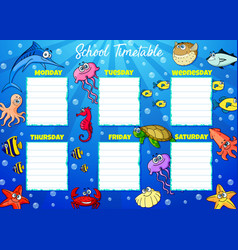 School timetable week schedule cartoon underwater vector