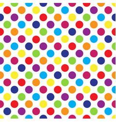 seamless colorful polka dot pattern on white vector image